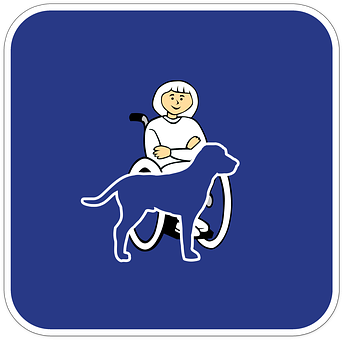 A cartoon drawing of a lady in a wheelchair beside a dog.