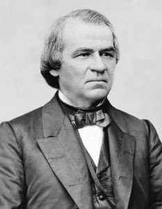 Black and white photocopy of Andrew Johnson.
