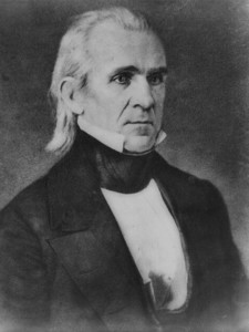 Black and white painting of President James Knox Polk.
