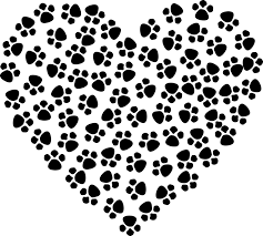 A heart made by a series of doggie footprints.  Loving shelter and rescue dogs.
