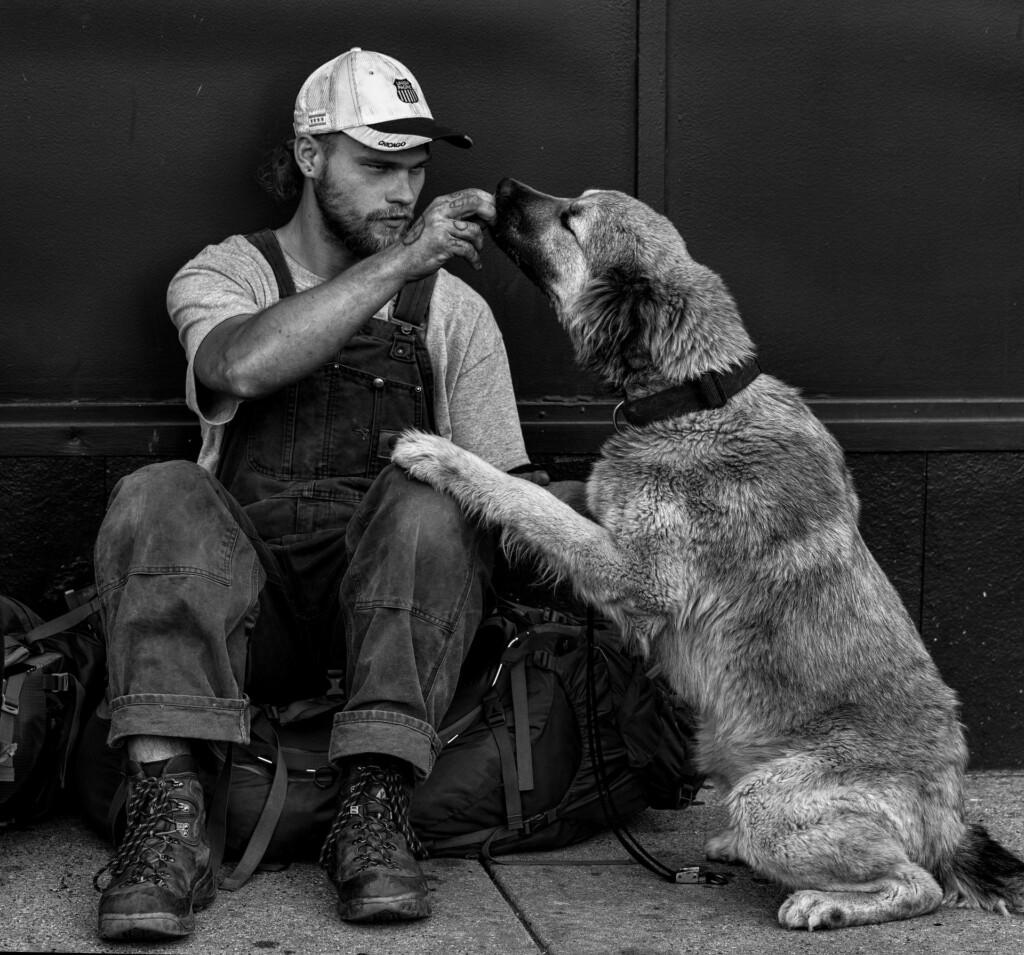 B&W man with dog